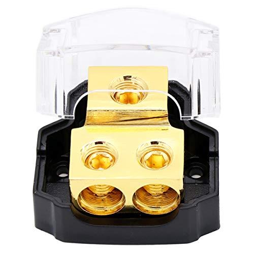 Magic source 1pcs Power Distribution Block 0/2/4 Gauge in 4/8 Gauge Out 2-Way Amp Copper Ground Block Distribution for Car Audio Splitter