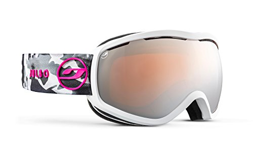 Julbo Equinox Womens Snow Goggles with Cats Eye Design and Ultrawide Field of Vision - Spectron 3 - White Marble