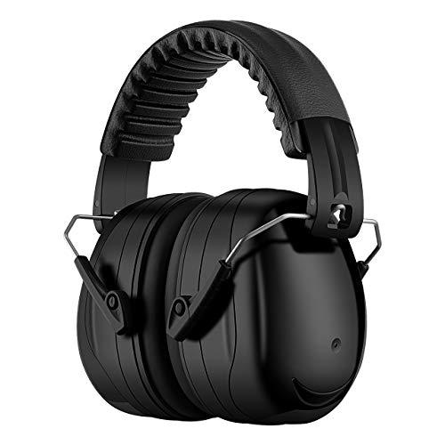 Homitt Gehörschutz Ohrenschützer mit 34dB SNR, lärmschutzkopfhörer erwachsene mit Tragbare Tasche, Faltbar Komfortabel kopfhörer mit tragekomfort für Schiessen, Gartenarbeit, Rasenmähen - Schwarz