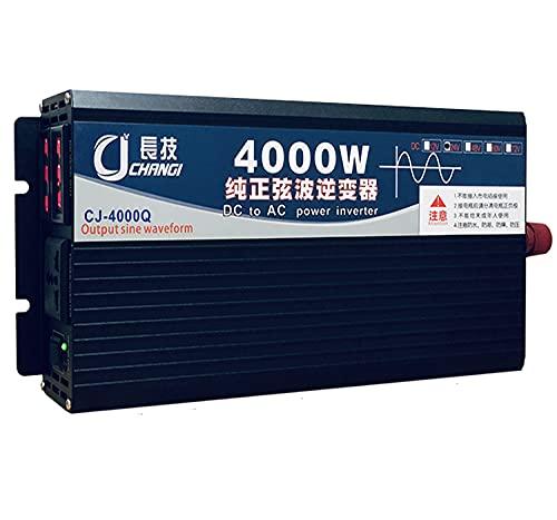 Inversor de Energía de Onda Sinusoidal Pura 200W 4000W 5000W DC 12V / 24V a AC 220V Convertidor de Voltaje con Salidas de CA y Pantalla LED Inversor de Energía Solar,para Camión RV (48V,4000W)