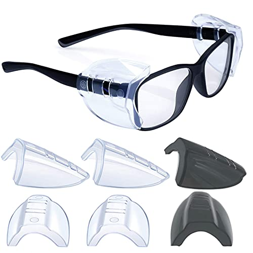 2 Pairs Safety Glasses Side Shields,Slip on Clear Side Shields,Fits Small to Medium Eyeglasses Frames