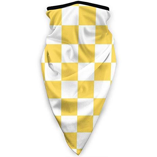 Huapart Hals Gamasche Staub Sonnenschutz Gesichtsschutz Sturmhaube Gesichtsmaske Senf Gelb und Weiß Schachbrettmuster