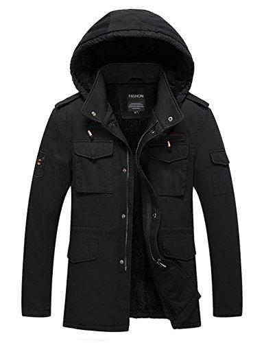 Menschwear Uomo Jacket Down Puffer Giacca Foderato di Pile Incappucciato Piumino (3XL,Nero)