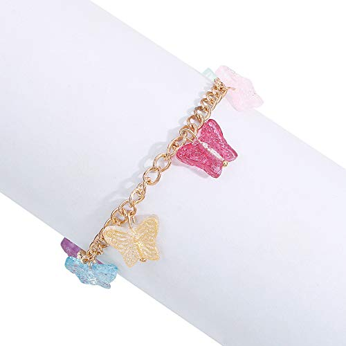 Creativa moda pendiente collar pulsera chica dulce color mariposa pendientes joyas Pulsera B1240