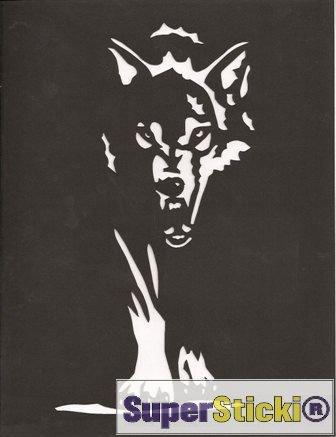 SUPERSTICKI weißer Wolf Silhouett Raubtier ca 15 cm Tuning Racing Rennsport Motorsport Deko Rennen aus Hochleistungsfolie Aufkleber