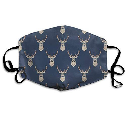 Bufanda de ciervo inspirada con gafas de cuerno, bigotes, divertido patrón de animales, vintage, a prueba de sol, bandana para la cabeza