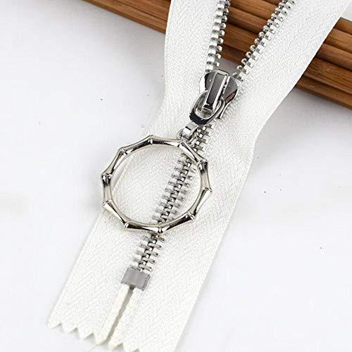 5/10 pezzi 20 cm 5# zip di metallo Close-End DIY borsa portamonete vestiti da cucito accessorio da sarto nero zip giacche cerniere cerniere cerniere Z409-14 bianco 5 pezzi 20 cm