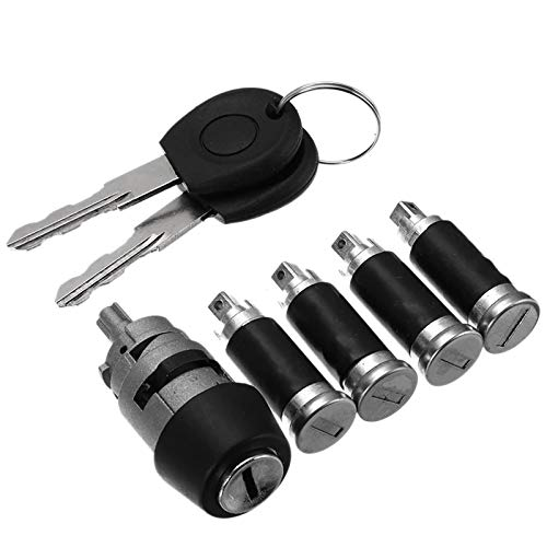 WingFly Juego de Cerraduras de Puerta de 4 Barriles + Interruptor de Encendido Compatible con Volkswagen T4 Transporter Caravelle MK IV 701837205 + 2 Llaves de Contacto