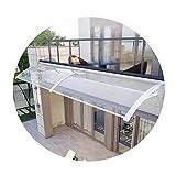 JIANFEI Marquesina Puerta Exterior, 2 Piezas Transparente Policarbonato Entrada Lluvia Y Nieve Cubrir, por Patio Proteccion Solar Marquesinas para Techos, 11 Tamaños (Color : Claro, Size : 60X220CM)