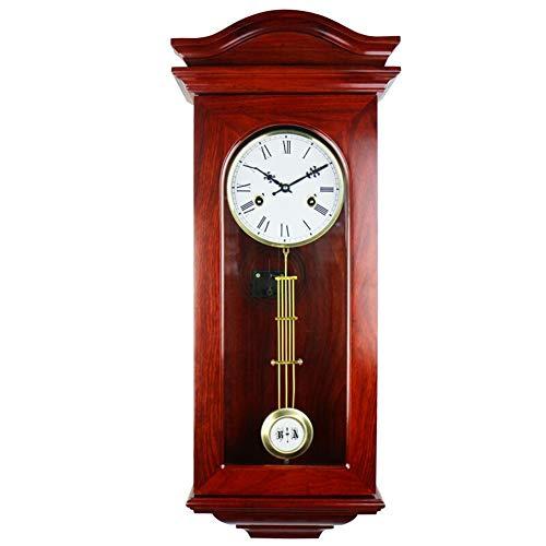 reloj de pared Retro del Metal Europeo Reloj de pie Carillón de la Vendimia péndulo mecánico de Cuerda Manual de Madera Maciza número Romano Living Room Decor Grande
