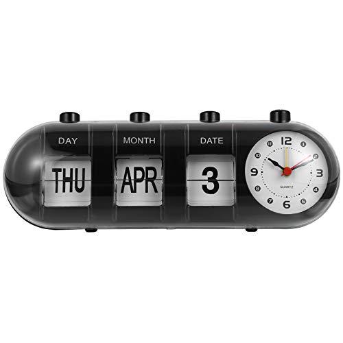 FAVOMOTO Calendario de Escritorio Permanente con Reloj ABS Manual de Pie Calendario de Escritorio Escolar Retro Vintage Reloj Digital para Decoración de Escritorio de Oficina en Casa