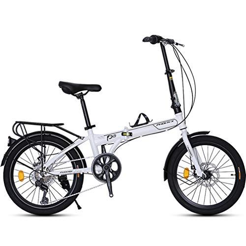 Mzq-yj 20 \'\' Bicicletta Pieghevole di 7 velocità, Leggero Mini Folding Bike, Piccolo Portable Città Pieghevole,Bianca