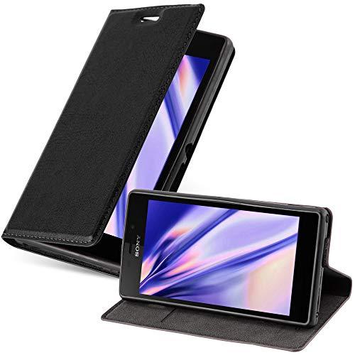Cadorabo Hülle für Sony Xperia M2 / M2 Aqua in Nacht SCHWARZ - Handyhülle mit Magnetverschluss, Standfunktion & Kartenfach - Hülle Cover Schutzhülle Etui Tasche Book Klapp Style