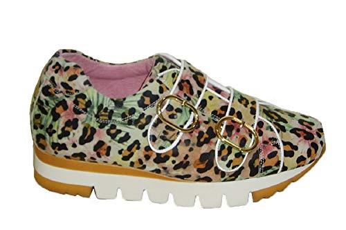 Vitelo 8285, Zapato con Dos Hebillas, Estampado Animal Print Multicolor, Piso Bicolor