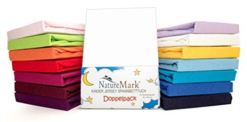 2er Sparpack Kinder Spannbettlaken Jersey 100% Baumwolle für Kinderbettmatratzen ÖKO Tex Geprüft- Gr. 70 x 140 cm, Weiß