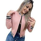Hunauoo Releases Women's Jacket Casual Long Sleeve Baseball Blazer Coat Zipper Raglan Jacket Pink