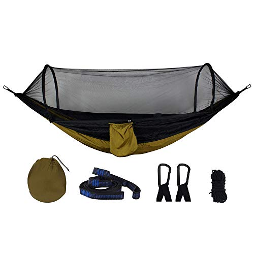 XuZeLii Hamaca De Camping 210T Nylon Hamaca Colgante al Aire Libre Cama con Mosquitera for el Recorrido Que acampa Adecuado para Mochileros (Color : Khaki, Size : 270x140cm)
