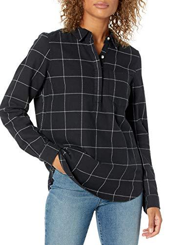 Goodthreads Brushed Flannel Popover Shirt Dress-Shirts, off-White/Black Windowpane Plaid, US S (EU S - M)