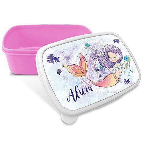 LolaPix Portamerienda Infantil. Regalos Personalizados. Caja merienda con Nombre. Apta para microondas y Libre de BPA, filatos y Metales Pesados. Varios diseños. Sirena