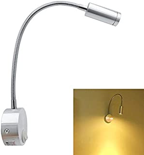 Yaeer Bedside Reading Light, Minimalist LED Bed Reading Lamp, Wall Surface Mount Brushed Nickel LED Light Picture Lamp, Go...