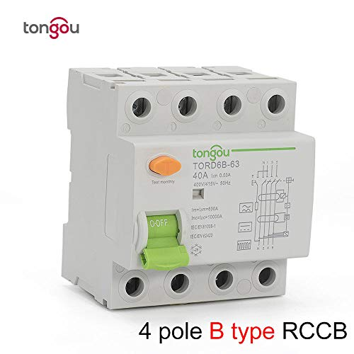 4P 63 Amp Type B 10KA RCCB RCD 230V 400V 30mA Residual Current Circuit Breaker TORD6B-63-4_Pole_300_mA_25A