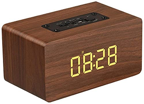 Altavoz portátil con el tiempo retro inalámbrico altavoz de madera reloj despertador Bluetooth altavoz multifuncional computadora altavoz-B