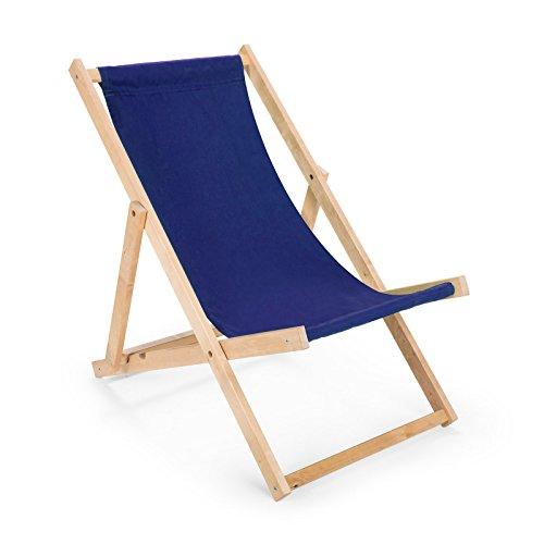 2 x Liegestuhl aus Holz Klappbar Holzklappstuhl Relaxliege Gartenliege Strandstuhl (Blau)