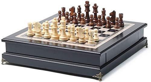 GLXLSBZ Juego de ajedrez Ajedrez Juego de ajedrez de Madera, Ajedrez con Almacenamiento Interior portátil Traveld para niños Principiantes y Adultos Ajedrez