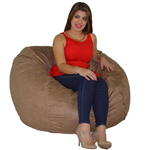 Cozy Sack Bean Bag Chair: Large 4 Foot Foam Filled Bean Bag ? Large Bean Bag Chair, Protective Liner, Plush Micro Fiber Removable Cover - Buckskin