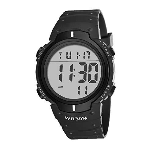 Sanfiyya Reloj de pulsera digital electrónico LED pantalla impermeable con brazalete de cuero de gran cara militar casual luminoso cronómetro negro