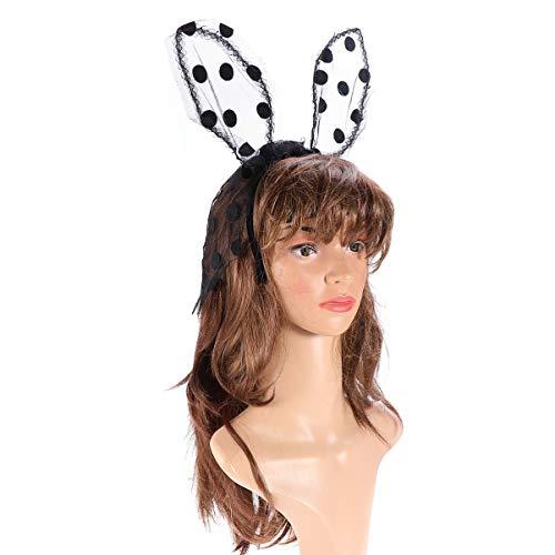 Lurrose Máscara de encaje Diadema Orejas de conejo Velo sexy creativo Aro para el cabello Accesorios para el cabello Diadema para discotecas de Navidad Disfraces de Halloween