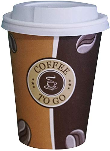 Gastro-Bedarf-Gutheil 100 Pappbecher Coffee to go 0,3 L Top Becher mit 100 Deckel in weiss Ideal für Coffee Latte Machiato Cappuccino Chocolate Tea Cream