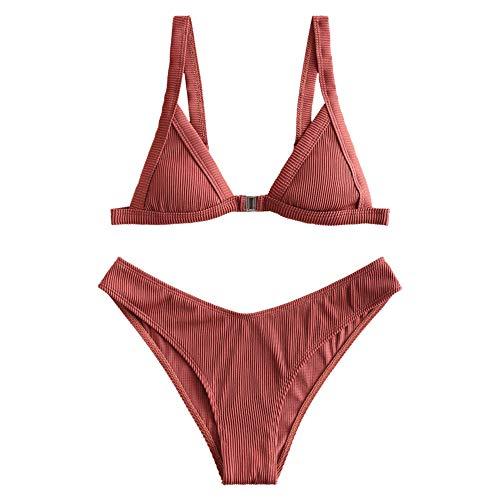 ZAFUL Women's Straps Textured Ribbed Front Closure High Cut Bikini Set Swinsuit (Sepia, L)
