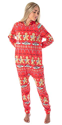 Friends TV Show Womens' Central Perk Ugly Christmas Sweater Hooded Pajama Union Suit (2X/3X)
