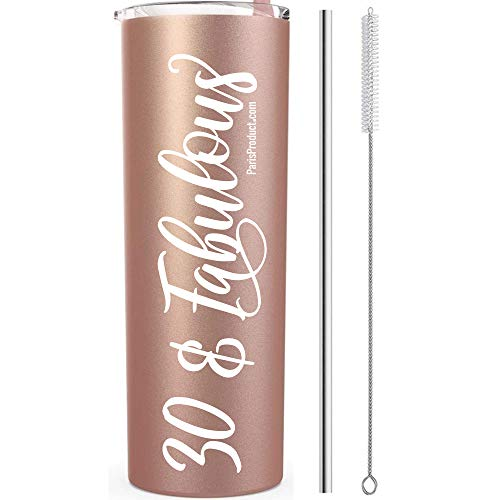 30 & Fabulous 20 Oz Stainless Steel Tumbler, 30th Birthday Gifts For Women, 30th Birthday Decorations for Women, 30th Party Supplies For Women Thirty Dirty 30 Photo Shoot Prop Return Gift Her