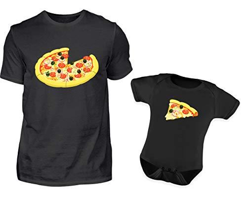 Vater Baby Partnerlook Pizza Tshirt Baby Body Strampler Outfit Set Rundhals Papa Sohn Partner Look Für Herren Und Jungs (L & 6-12 Monate)