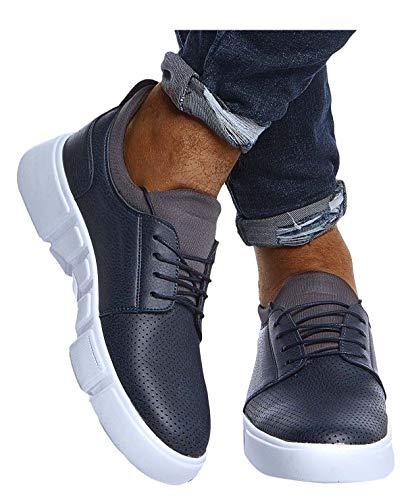 Leif Nelson Herren Schuhe für Freizeit Sport Freizeitschuhe Männer weiße Sneaker Sommer Coole Elegante Sommerschuhe Sportschuhe Weiße Schuhe für Jungen Winterschuhe Halbschuhe LN202 42 D. Blau