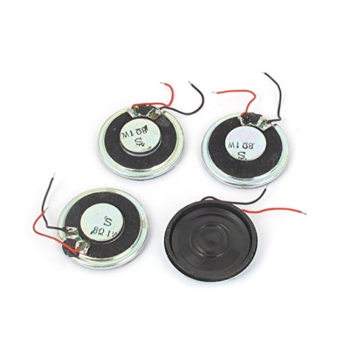 sourcing map 1 W 8 Ohm Mini Altavoz MP3 MP4 Jugador imán Altavoz 28 mm Dia 4 Piezas