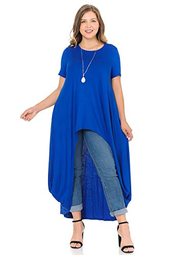 Pastel by Vivienne Women's High-Low Maxi Top in Plus Size XX-Large Royal Blue