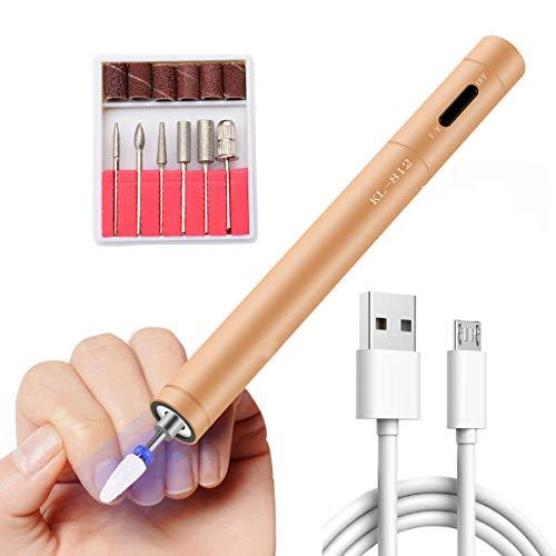 Nail Drill Mini Electric Nail File USB Rechargeable Nail Drill Pen LED Portable Nail Drill Machine Professional Nail Polisher Efile Nail Drills for Acrylic Nails