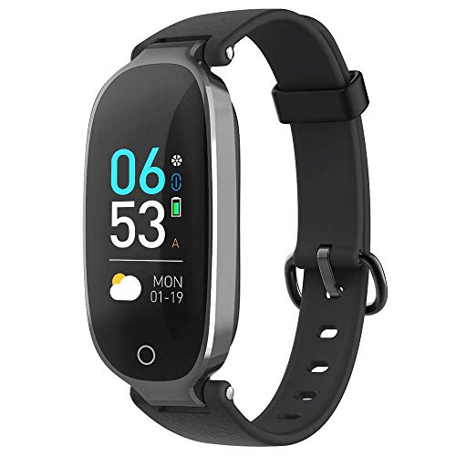 AGPTEK Fitness Tracker for Women, IP68 Waterproof Smart Bracelet with HD Color Screen, 16 Sport Mode Heart Rate Monitor Sleep Monitor Pedometer Calorie, Compatible with Android and iOS(Black)