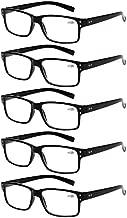 Reading Glasses 5 Pairs Quality Readers Spring Hinge Glasses for Reading for Men and Women (5 Pack Black, 3.50)