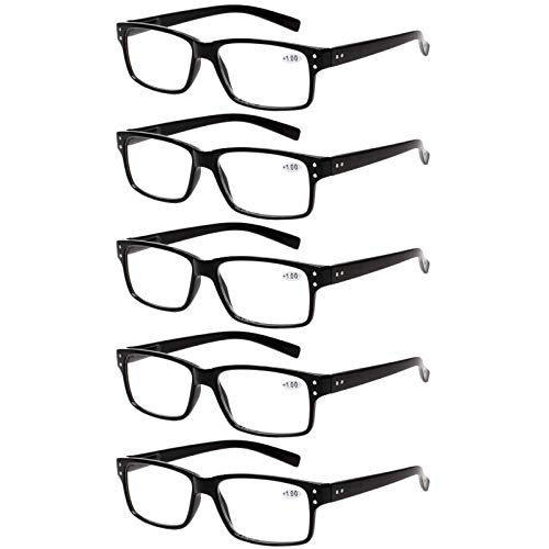 Reading Glasses 5 Pairs Quality Readers Spring Hinge Glasses for Reading for Men and Women (5 Pack Black, 2.00)