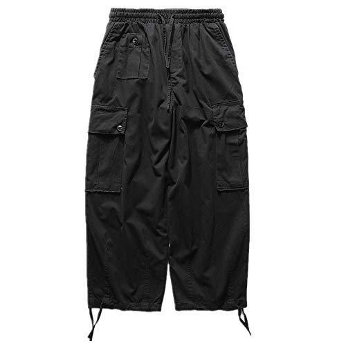 N\P Retro Pantalones de pierna ancha Casual Hip-hop Suelto Salvaje Recto Múltiples Bolsillos Monos Hombres