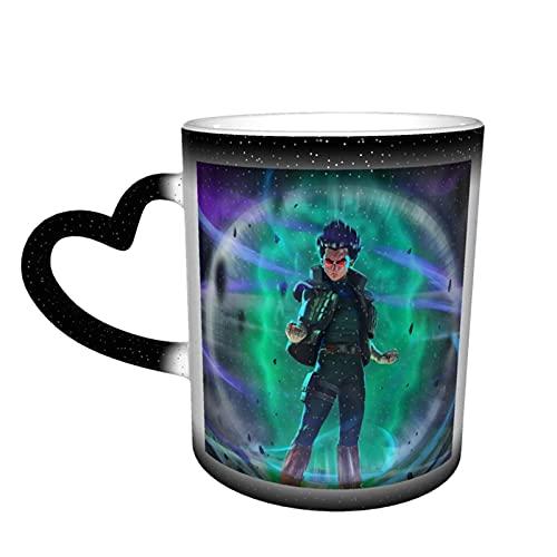 Anime Naruto Rock Lee Taza de café cerámica sensible al calor, color cambiante cielo estrellado taza tazas de café 12 onzas divertidas y mágicas (antideslizante en la parte inferior de la taza)