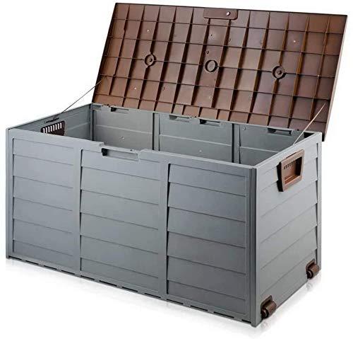 Kunststoff-Lagerung im Freien Kunststoff-Lagergartenstuhl ist ideal für Kissen, Werkzeuge, Spielzeug,Brown