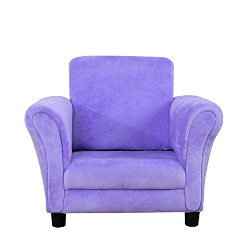 Single Upholstered Kids Armchair, Little Sofa Couch with Wooden Velvet for Toddlers (Purple)