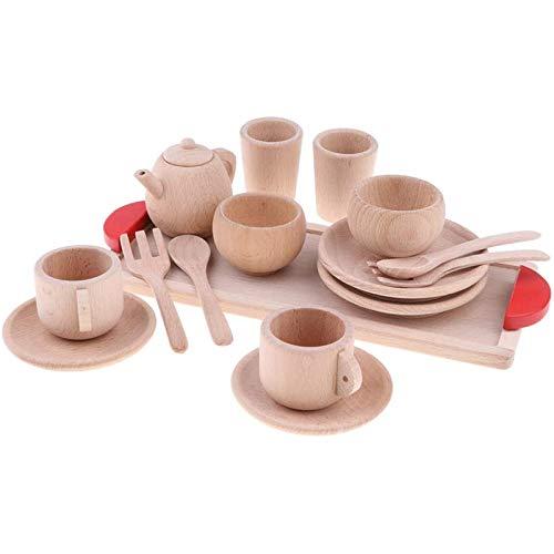 LIGHTZHAO Juego de madera de madera maciza de haya juego de té taza de té platillo bandeja de fingir juguete de cocina