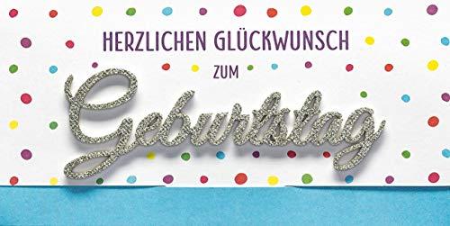Geburtstagskarte Lettering Surprise - Herzlichen Glückwunsch, kl. Punkte - 11 x 22 cm