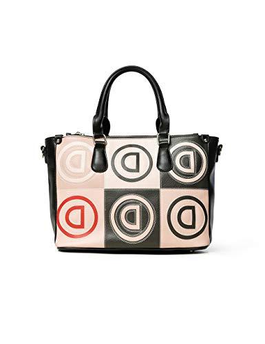 Desigual Damen Bols_Logo Patch Safi Henkeltasche, Beige (Beige), 15.3x23.3x33.8 cm